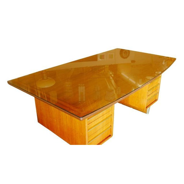 Mid-Century Mahogany Executive Desk With Brass Pulls - Image 6 of 10