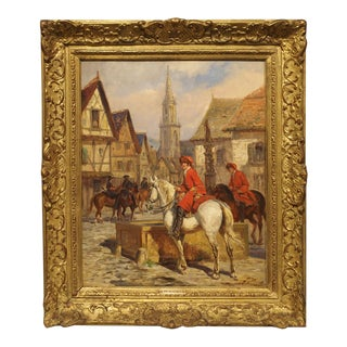Antique French Oil Painting on Board by Desvarreux, 1876-1963 For Sale