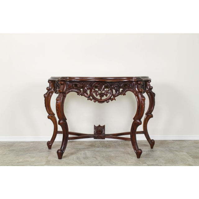 Traditional Carved Wood Console Table, Vintage Carved Wood Console For Sale - Image 10 of 10