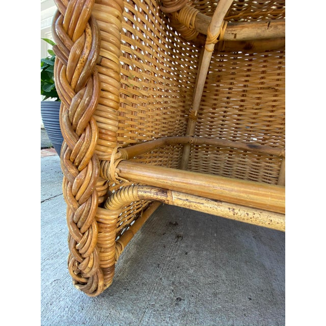 Brown Vintage 1970's Crespi Style Woven Rattan and Bamboo Bar Stools - a Pair For Sale - Image 8 of 13