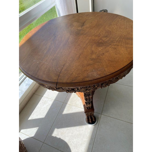Art Nouveau Antique Burmese Carved Dining Table For Sale - Image 3 of 7