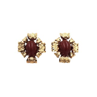 1964 Napier Cabochon Faux-Carnelian Earrings For Sale