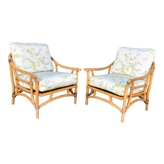 Vintage Rattan Lounge Chairs- a Pair For Sale