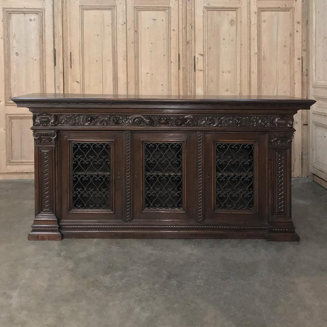 Brown Antique Italian Walnut Renaissance Buffet/Credenza, Bookcase With Wrought Iron For Sale - Image 8 of 8