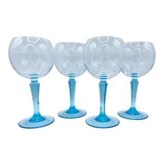 Bombay Sapphire Turquoise Stemmed Glasses - Set of 4 For Sale