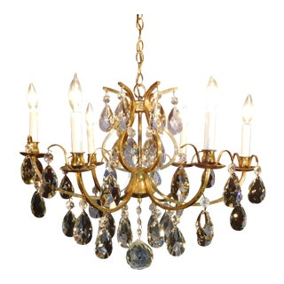 Brass Mid-Century 6 Arm 6 Lite Authentic Lead Cut Crystal Chandelier For Sale