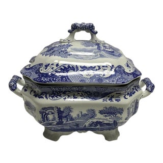 1816 Antique Spode England Italian Lidded Serving Dish Soup Tureen For Sale
