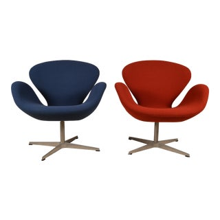 Mid-Century Modern Fritz Hansen Red and Blue Upholstered Swan Chairs - a Pair