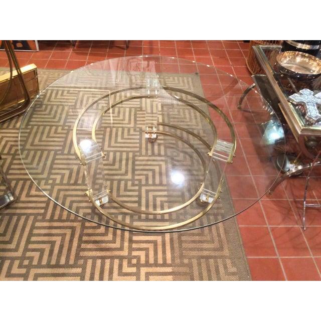 Hollywood Regency Charles Hollis Jones Hollywood Regency Lucite & Brass Coffee Table For Sale - Image 3 of 10