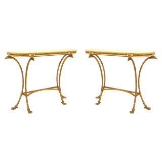 18th Century French Louis XVI Style Bronze Doré Console Tables - a Pair For Sale