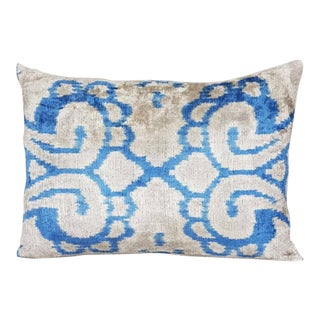 Mineral Blue Silk Velvet Down Feather Ikat Accent Pillow