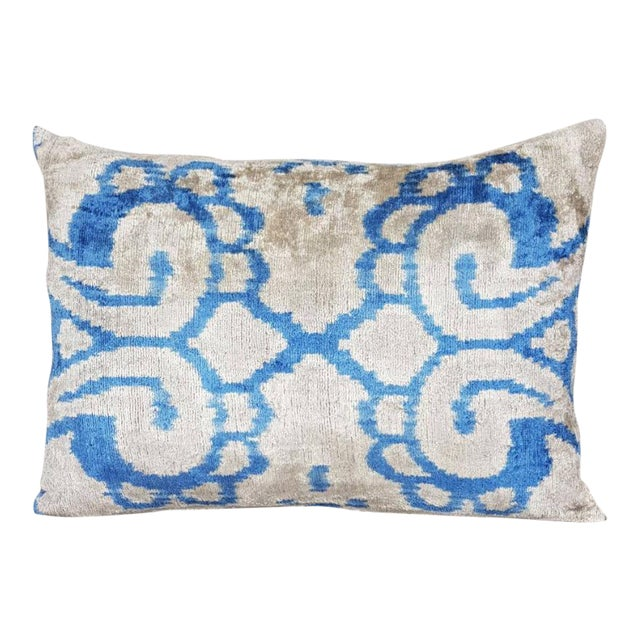 Mineral Blue Silk Velvet Down Feather Ikat Accent Pillow For Sale