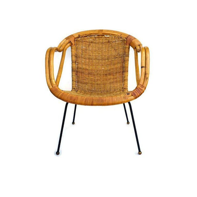 Mid Century Modern Rattan Hoop Chair, Sculpted Bamboo Arm Chair / Saucer Chair with Cast Iron Legs. Boho Lounge Chair...