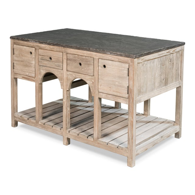 Estimated retail price: $2445 This piece presented by Sarreid LTD includes Recycled Pine. Stone includes Weathered Finish....