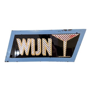 C. 1950s Dutch Steel/Glass/Corrugated Foil Parallelogram Wine Sign For Sale