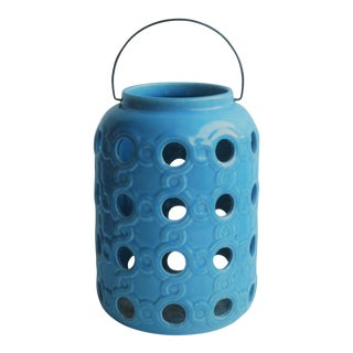 Blue Ceramic Openwork Pottery Garden Lantern For Sale