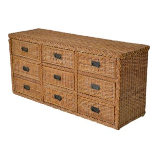 Hollywood Regency Woven Rattan Dresser or Sideboard For Sale