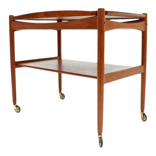 Poul Hundevad Teak Trolley in Teak Wood With Tray, Denmark, 1960s For Sale