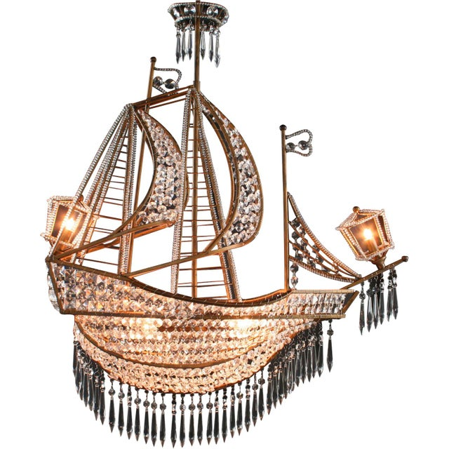 New Large Sailing Ship Crystal Chandelier For Sale - Image 4 of 12