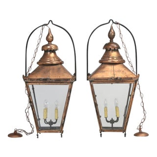 Antique Pair of Large French Copper Lanterns For Sale