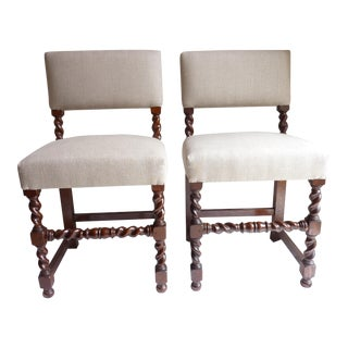 Barley Twist Side Chairs - a Pair For Sale