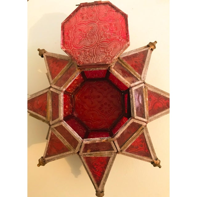 1970s Boho Chic Morovian Red Glass Star Lanterns - a Pair For Sale In Los Angeles - Image 6 of 9