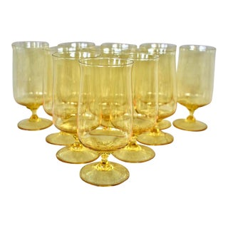 Vintage Canary Yellow Water Glasses - Set of 11 For Sale
