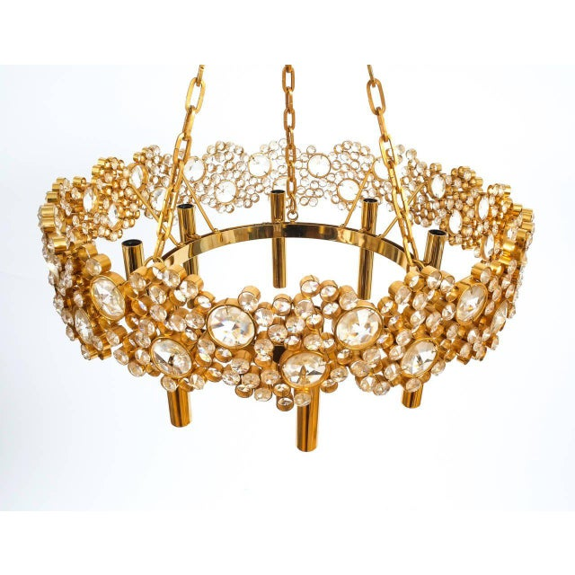1960s Large Gilt Brass and Glass Chandelier Lamp, Palwa circa 1960 For Sale - Image 5 of 8