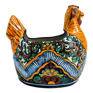 Vintage Talavera Mexican Pottery Rooster Planter For Sale