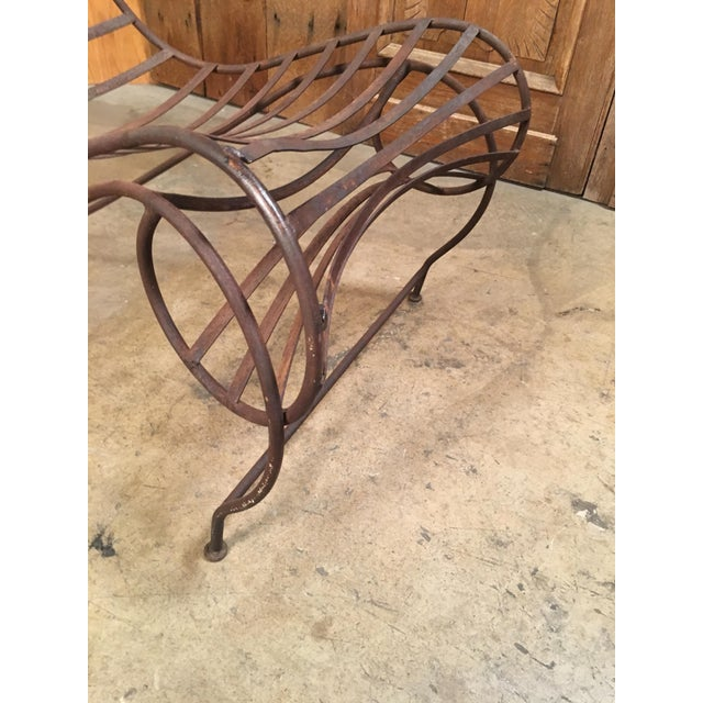Brown Vintage Mid Century Andre Dubreuil Style Iron Spine Chair For Sale - Image 8 of 11