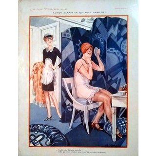 """G. Pavis 1929 """"Sait-On Jamais Ce Qui Peut Arriver?"""" La Vie Parisienne Print For Sale"""