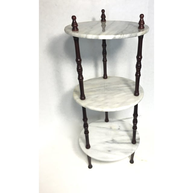 Mid-Century 3-Tier Marble Table Plant Stand - Image 2 of 4