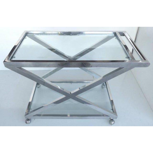 Silver Mid-Century Modern Nickel-Plated Tea Trolley or Bar Cart For Sale - Image 8 of 9