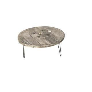 Reclaimed Spool W/Hairpin Legs Coffee Table