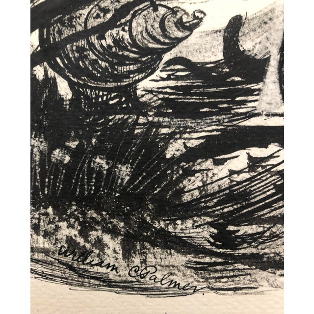 Illustration Under the Sea en Grisaille Ink Wash by William Palmer, C. 1940s For Sale - Image 3 of 5