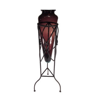 Large Amphora Style Glass Vase in Iron Tripod Stand