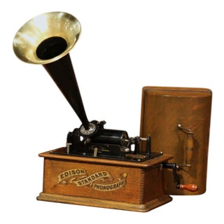Early 20th Century Model A. Edison Cylinder Phonograph Circa 1901 and 22 Records For Sale