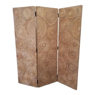 Vintage 1990's Coiled Seagrass Rope Room Divider For Sale