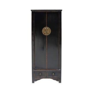 Chinese Oriental Distressed Black Lacquer Moonface Tall Storage Cabinet For Sale