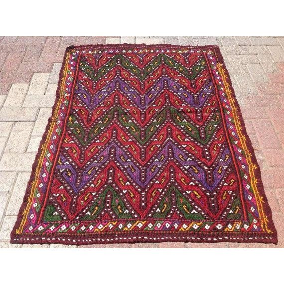 Vintage Turkish Kilim Rug - 3′3″ × 4′4″ - Image 2 of 6