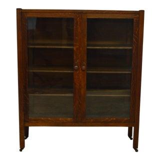 1910s Antique Mission Oak China Cabinet For Sale