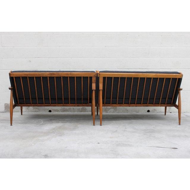 Walnut Danish Minimalist Spindle Back Sectional Sofa - Image 7 of 11