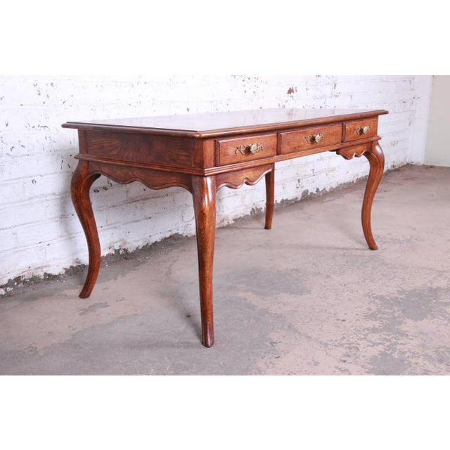 French Vintage French Provincial Louis XV Style Oak Writing Desk by Hickory For Sale - Image 3 of 13