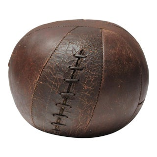 Vintage Hand-Stitched Four Pound Leather Medicine Ball For Sale