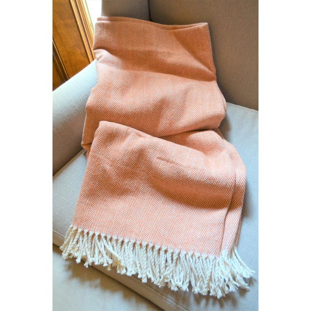 Contemporary Italian Apricot and Cream Cotton Throw Blanket For Sale - Image 3 of 9