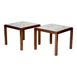 Pair Mid-Century Square Bronze Metal Side Tables with Marbelized Mirror Tops For Sale