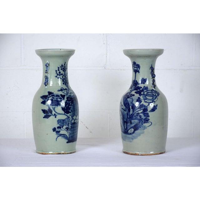 Pair Of Chinese Blue And White Ceramic Vases Chairish