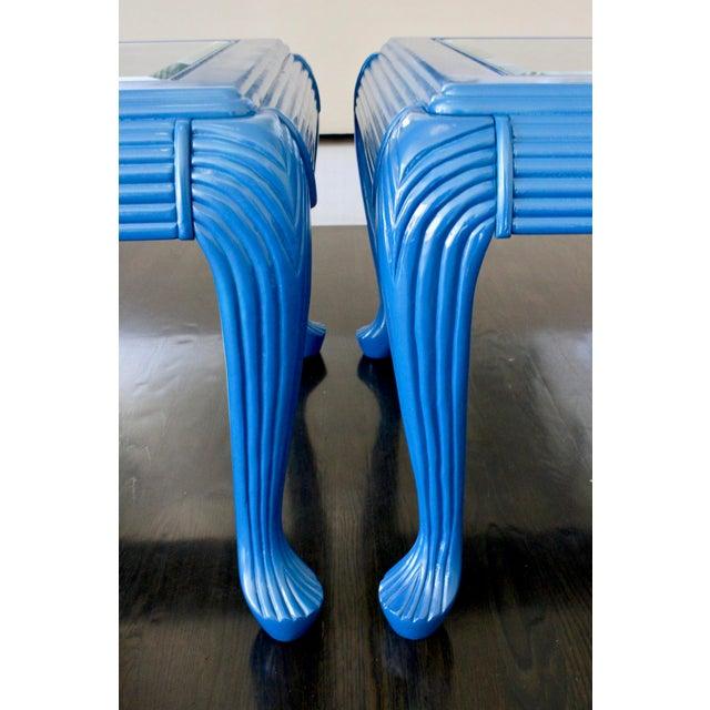 Vintage Art Deco/Nouveau Skyscraper Peacock Blue Glass Side Tables- A Pair For Sale - Image 4 of 8