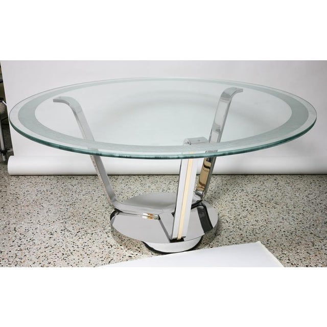 Transparent Art Deco Revival Round Dining or Center Table, Chrome & Brass, by Karl Springer For Sale - Image 8 of 11