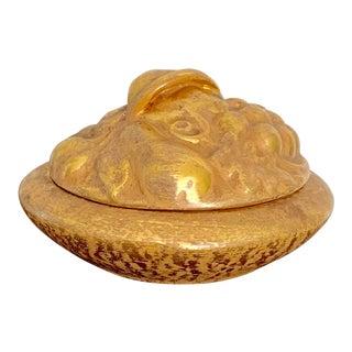 Vintage Stangle 22k Gold Brushed Ceramic Fruit Box For Sale